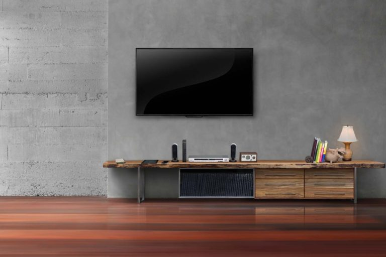 TV Hanging up on wall